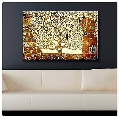"Alonline Art Vinyl STICKER Decal Rolled 31""x20"" - 80x50cm Gustav Klimt Tree Of Life Yellow Prints Stickers Wall Decor Sticker Poster Posters Painting Mural Wall Decals Paints Adhesive Vinyl Decal"
