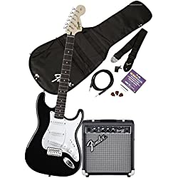 Squier by Fender Affinity Stratocaster Beginner Electric Guitar Pack with Fender FM 10G Amplifier, Clip-On Tuner, Cable, Strap, Picks, and gig bag - Black