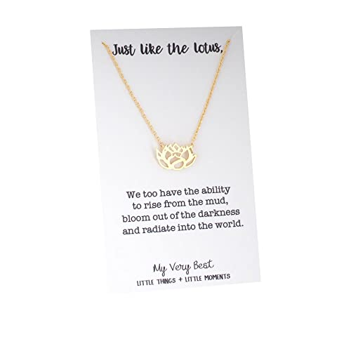 Amazoncom My Very Best Blooming Lotus Flower Necklace Gold Plated