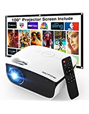 $109 » Outdoor Projector with 100 Inch Projector Screen, 1080P Supported Movie Projector, 5500 Lumen Portable Projector, Nic pow Mini Video Projector, Compatible with TV Stick/PS4/PC/Laptop/Smartphone