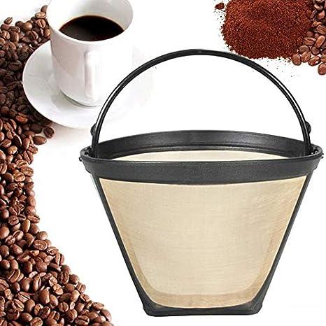 OurLeeme Filtro de caf/é 2 piezas Filtro de caf/é reutilizable Filtro de caf/é permanente Cesta de malla con mango Accesorios de caf/é en tono dorado