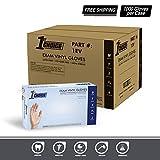 1000 exam gloves - 1st Choice 1EVM Clear Exam Vinyl Latex Free Disposable Gloves (Case of 1000), 3 Mil, Medium
