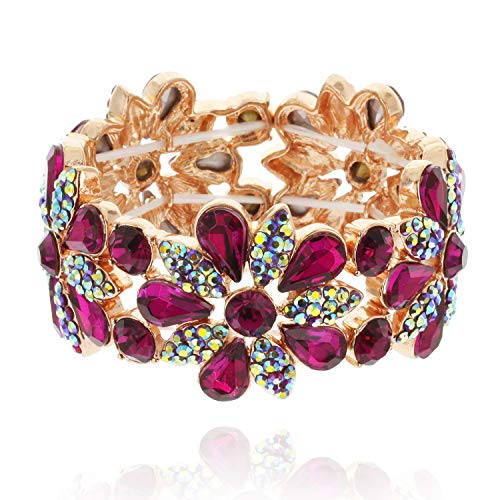 (SP Sophia Collection Women's Floral Austrian Crystal Bangle Stretch Rhinestone Bracelet in Fuchsia Pink)