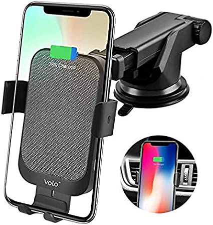 audbos Auto-Clamping Fast Wireless Car Charger Silver Air Vent Phone Holder Compatible with iPhone Xs Max//XR//XS//X//8//Plus Samsung Galaxy S9//S8//S7//Note 8//9 Qi-Enabled Phones