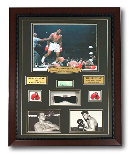 MUHAMMAD ALI AUTHENTIC WORN BOW TIE COLLAGE W/AUTOGRAPH JSA + ALI COA FRAMED