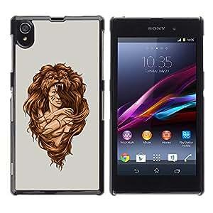 Be Good Phone Accessory // Dura Cáscara cubierta Protectora Caso Carcasa Funda de Protección para Sony Xperia Z1 L39 C6902 C6903 C6906 C6916 C6943 // Amazon Woman Warrior Lion Wild