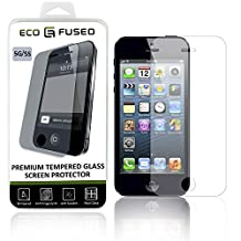 iPhone5,5C,5S Premium Tempered Glass Screen Protector–Real Glass Screen Protector with Oleophobic Coating Compatible with Apple iPhone 5,5C,5S–Anti Fingerprint Anti Scratch–Perfect Clarity &Touchscreen Functionality–1Cleaning Cloth(1pack)