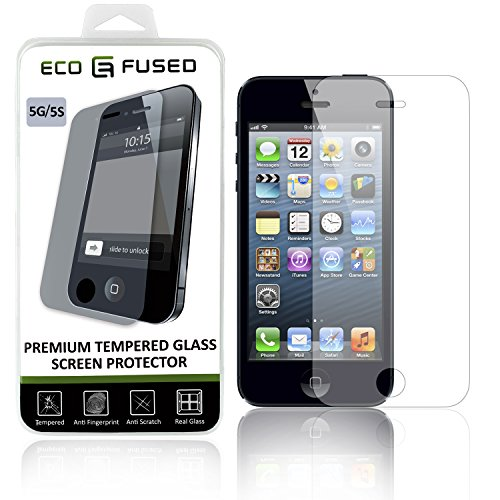 Eco-Fused Premium Tempered Glass Screen Protector for iPhone SE, 5, 5C, 5S – Glass Screen Protector with Oleophobic Coating – Anti Fingerprint and Scratch – Perfect Clarity and Touch