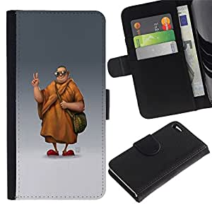 All Phone Most Case / Oferta Especial Cáscara Funda de cuero Monedero Cubierta de proteccion Caso / Wallet Case for Apple Iphone 4 / 4S // Chill Sunglasses Monk