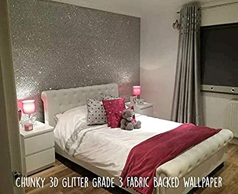 Glitter Wallpaper Grade 3 Silver Sold By The Metre Amazon Co Uk