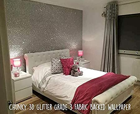 Glitter Wallpaper Grade 3silver Sold By The Metre Amazoncouk