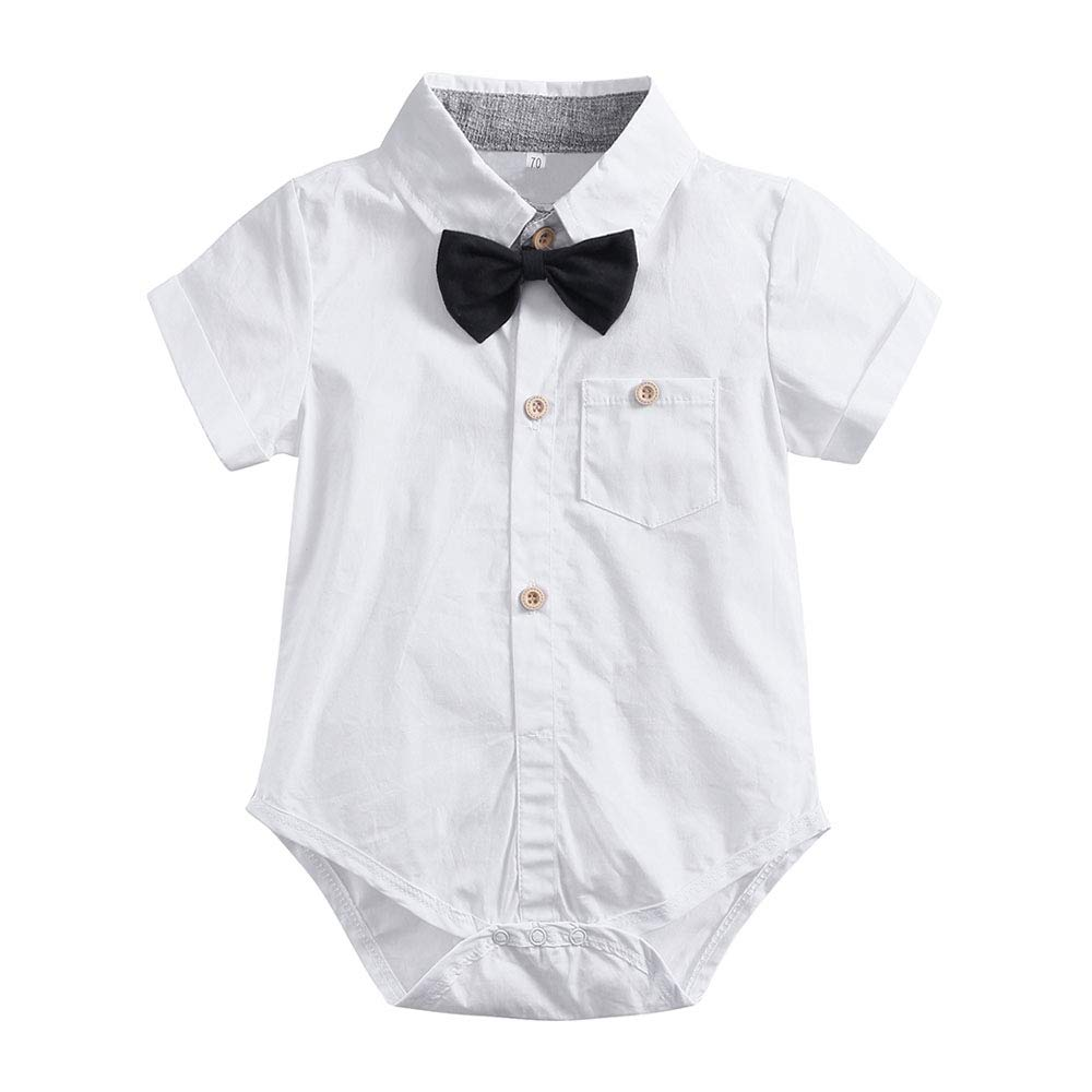 7a1851d84 Amazon.com: Toddler Baby Boys Gentleman Outfits Suits Toddler Infant Short  Sleeve Shirt+Pants+Bow Tie Overalls Jumpsuit Clothes Set: Clothing