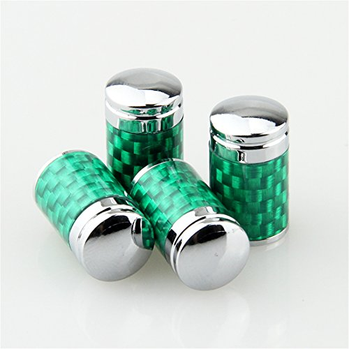 Ezzy Auto Green Pack of 4 Carbon Fiber Universal Wheel Tire Valve Stem Air Caps Covers fit for Honda Toyota Dodge Mazda
