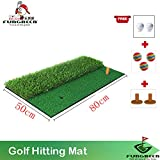 FUNGREEN Backyard Golf Mat 50x80cm Indoor Training Hitting Pad Practice Rubber Tee Holder Eco-friendly Green Golf Hitting Mat