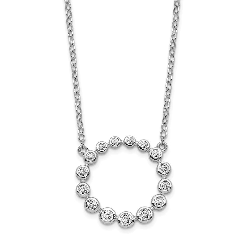 925 STERLING SILVER RHODIUM PLATED NECKLACE *CIRCLES* WITH ZIRCONIA