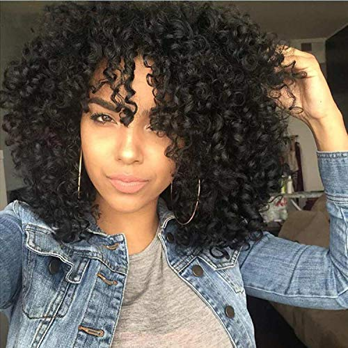 Synthetic Curly Wigs for Black Women Kinky Curly Afrian Full Wigs Black Color 14 Inch With Bangs,Free Caps