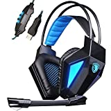 Cheap SADES SA-710 Black 7.1 Surround Sound USB PC Gaming Headsets Headphones With Audio Noise Cancelling LED Light For PC and PS4 (Black and Blue)