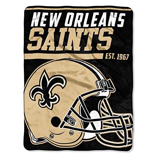 New Orleans Saints Blanket 46x60 Micro Raschel 40 Yard Dash Design Rolled
