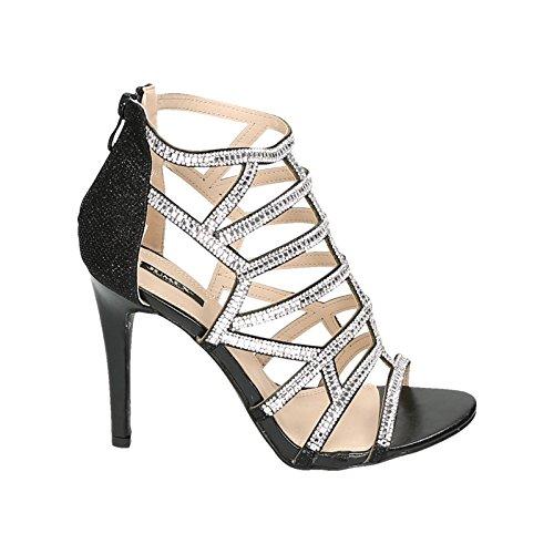 Damen High Heels Sandaletten Party Glitzer Schmucksteine Stilettos