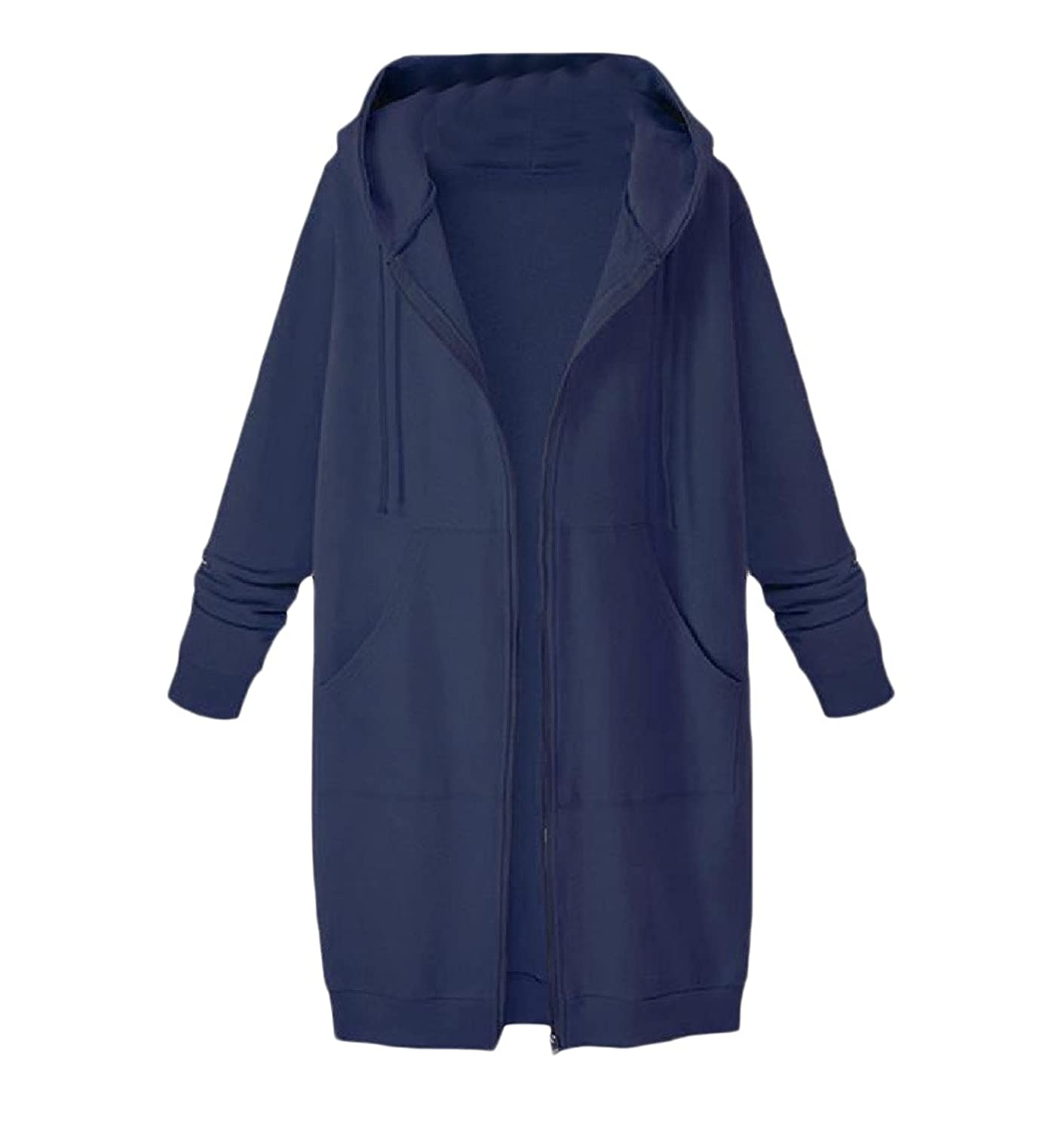 c2b3e6a731f Tootlessly-Women Casual Hooded Plus Velvet Solid-Colored Pocket Jackets  Navy Blue 3XL  Amazon.co.uk  Clothing
