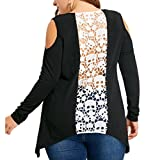 Tenworld Women's Cut Out Cold Shoulder Casual Shirt Hollow Out Back Lace Skull Tunic Tops