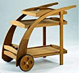 TeakStation Grade-A Teak Wood Trolley Cart With Serving Tray and Bottle Rack.