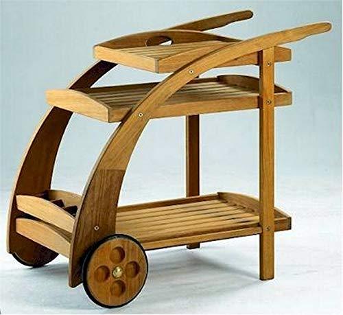 TeakStation Grade-A Teak Wood Trolley Cart With Serving Tray and Bottle - Trolley Teak Serving