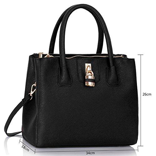 Size Large LeahWard Bags Black 195 Clearance Sale For Tote Shoulder Handbags Padlock Women Oqqd5