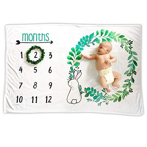 "Baby Monthly Milestone Blanket | Premium Fleece Large 40"" x 60"" | Wreath Frame Included | Boy Newborn Month Blanket | New Mom Baby Shower Gift | Photo Background Prop, Bunny"