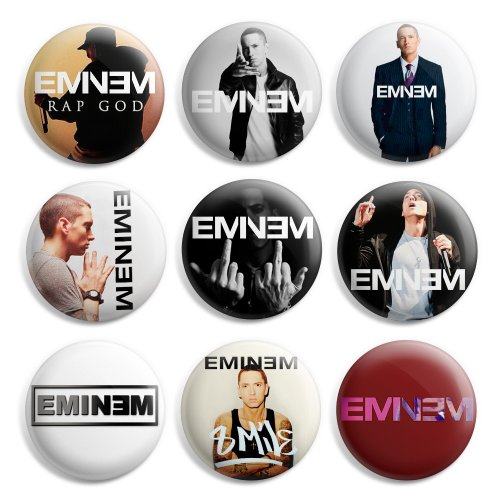 (Eminem Pinback Buttons Pin Badges 1 Inch (25mm) - Pack of 9)