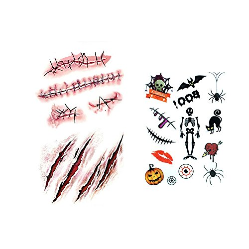 "Fake Scar Tattoos & Halloween Temporary Tattoos Pack by Hello Halloween | Horror Fake Wounds, Fake Stitches, Pumpkin Tattoos, Spider Tattoos and More | 2-4.5"" Size Scary Tattoos, for Adults and Kids (Easy Spider Web Halloween Makeup)"