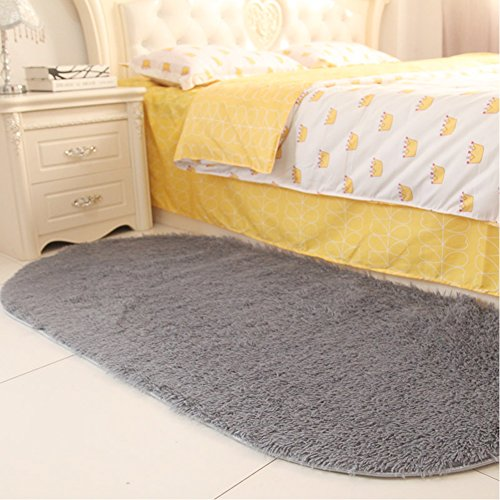 Noahas Ultra Soft 4.5cm Velvet Bedroom Rugs Kids Room Carpet Modern Shaggy Area Rugs Home Decor 2.6' X 5.3', Gray