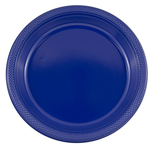 (JAM PAPER Round Plastic Party Plates - Large - 10 1/4 inch - Royal Blue -)