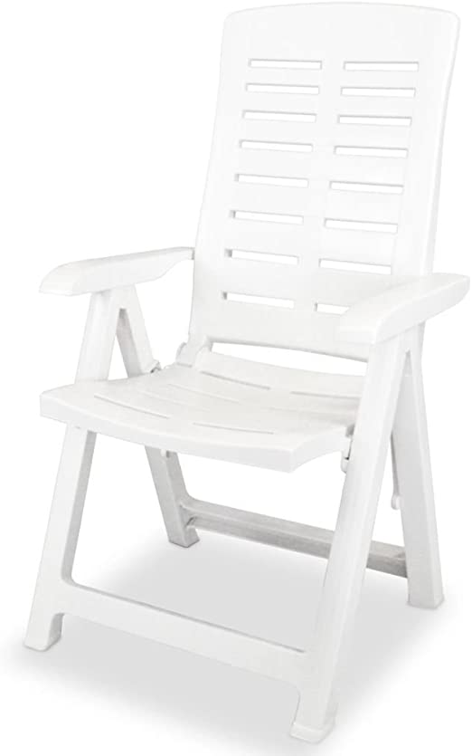 Silla reclinable de jardín 60 x 61 x 108 cm de plástico blanca material color plástico Sillas de exterior: Amazon.es: Hogar