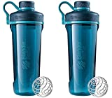 protein blender bottle small - 2 Pack Blender Bottle Radian 32 oz. Tritan Shaker Bottle with Loop Top ( Deep Sea Green)