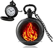 Wklo0avmg Fire Symbol Pocket Watch Necklace, Fire Emblem Pendant, Four Elements Art Gifts, for Her, for him,QK