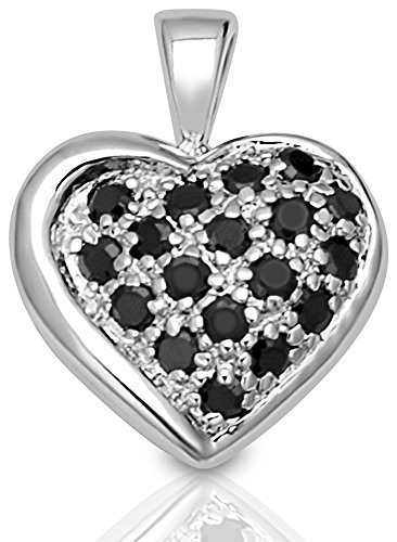 Sterling Silver Heart Slider (Womens Sterling Silver .925 Original Design Puffed Heart Pendant/Slider with Black Round shaped Cubic Zirconia (CZ) stones, Platinum Rhodium Plated, Identical Appearance to Platinum or White)
