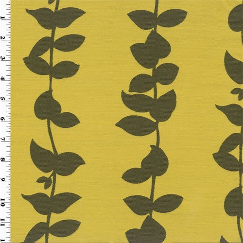 Yellow Stripe Upholstery Fabric - Brown/Yellow Vine Stripe Jacquard Home Decorating Fabric, Fabric By the Yard