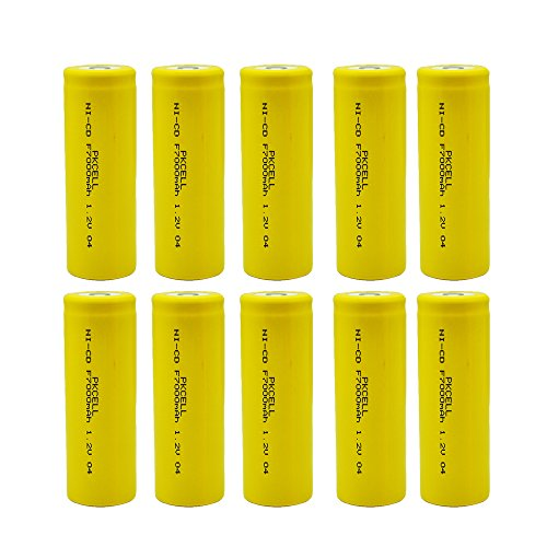 10 Pcs PKCELL 1.2 V NI-CD 7000mAh F Size Flat Top Rechargeable Battery by PK Cell