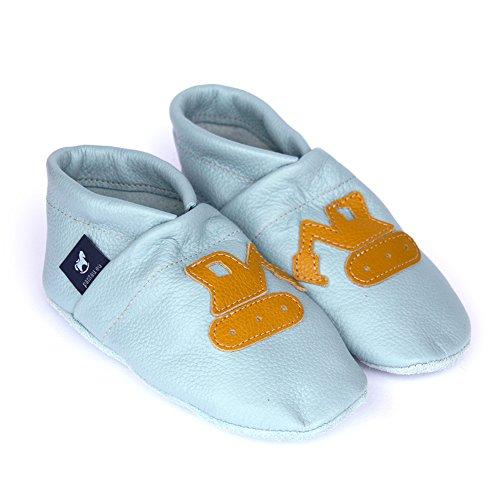 pantau Leder Krabbelschuhe Lederpuschen Babyschuhe Lauflernschuhe mit Bagger, 100% Leder Hellblau-Gelb