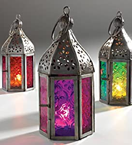 Moroccan And Indian Mini Frosted Glass Lantern Purple Kitchen