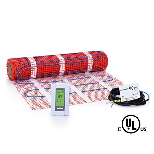 15 sqft Mat Kit, 120V Electric Radiant Floor Heat Heating System w/ Aube Programmable Floor Sensing Thermostat by HeatTech