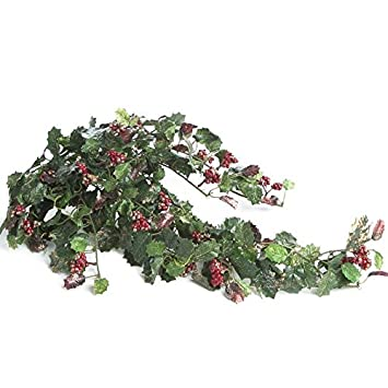 Factory Direct Craft Sparkling Artificial Cascading Holly Ivy Bush for Centerpieces and Arrangements (Red)