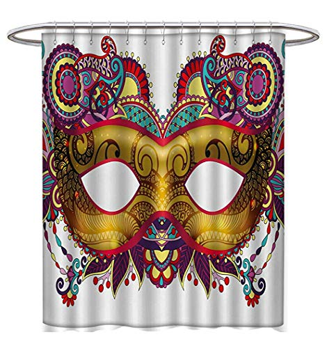 Anhuthree Mardi Gras Shower Curtains with Shower Hooks Ornate Floral Details on Yellow Eye Mask Traditional Holiday Carnival Festival Satin Fabric Bathroom Washable W54 x L78 Multicolor (Eye Floral Hydra)