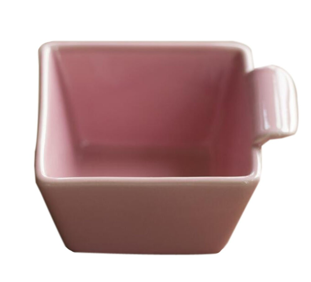 Set of 4 Pink Square Shape Porcelain Souffle Dishes Pudding Dishes PANDA SUPERSTORE PS-HOM678652011-EMILY03017