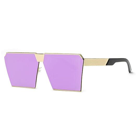 e154dccbe5e AEVOGUE Sunglasses For Men Square Oversized Metal Frame Brand Designer  AE0436 (Purple Gold