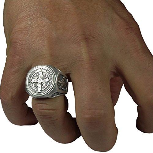 Anillo de plata de ley 925 símbolo de San Benito, anillo de exorcismo católico romano cristiano para hombre, protección demoníaca