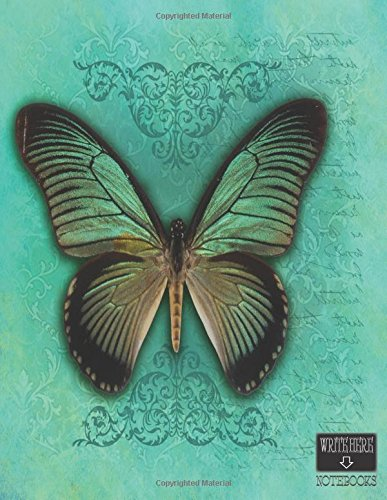 """Download Write Here Notebooks: Butterfly Notebook/Journal/Diary 100 Pages of Blank Unlined Paper 8.5""""x11"""" with Glossy Finish - also Blank Composition Book Butterfly In Blue pdf epub"""