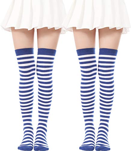 (Over Knee Long Sock Striped Mardi Gras Socks St. Patrick's Day Stockings (2 Pairs Blue White socks))