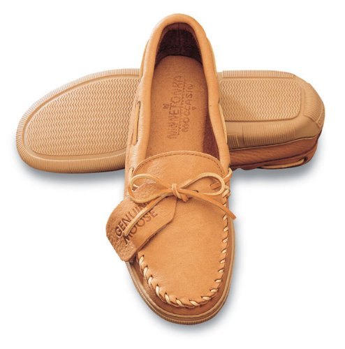 Moc Natural (Men's Minnetonka Moccasins Moosehide Moc, Natural, 14 US)